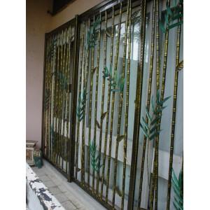 wrought iron sliding door with bamboo design