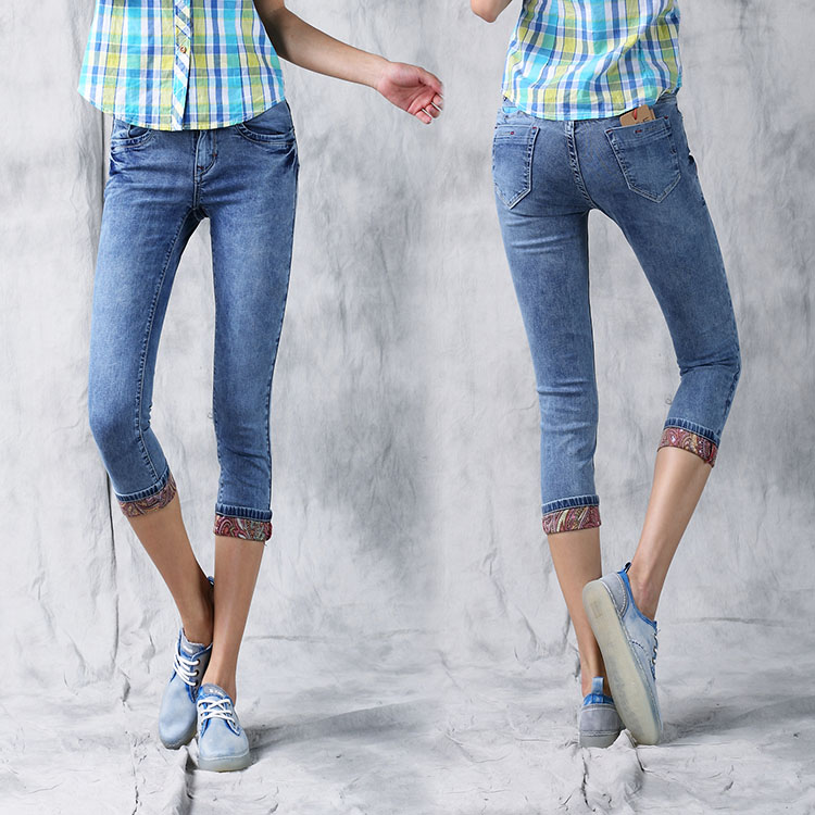 西都本色2014夏季新薄款牛仔7分裤女显瘦中裤弹力大码裤子